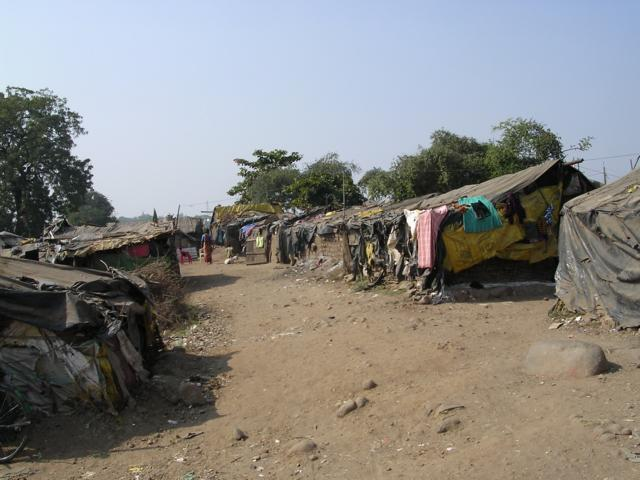 Raj Nagar a non-notified slum in a dried up river valley